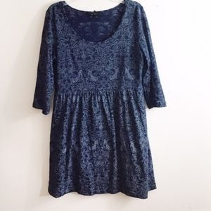 Dark Blue Paisley Fit and Flare Dress Small